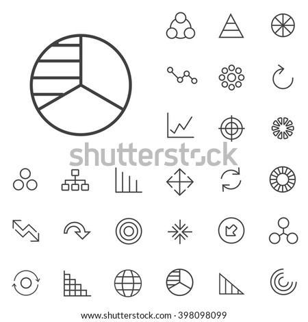 Linear diagram icons set. Universal diagram icon to use in web and mobile UI - stock vector
