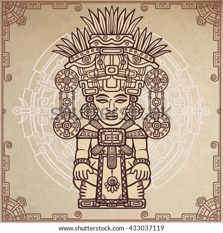 Linear drawing: decorative image of an ancient Indian deity. Magic circle. A background - imitation of old paper. Vector illustration. - stock vector