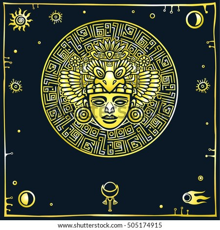 Linear drawing: decorative image of an ancient Indian deity. Space symbols. Gold imitation.  Vector illustration isolated on a black background.