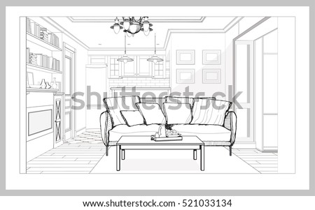 Linear Drawing Interior Perspective Modern Living Stock Vector ...