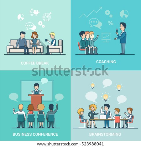 Linear Flat Businesspeople working and relaxation, office interior vector illustration. Coach, speaker, leader characters. Business conference, Coaching, Brainstorming, coffee break concept.