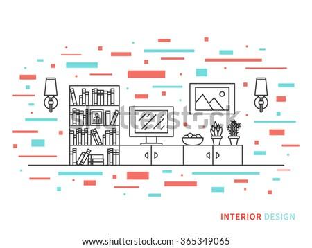 Linear flat interior design illustration of modern designer living room interior space with cupboard, shelves, stove, lamps, fridge. Outline vector graphic concept of living room interior design.    - stock vector