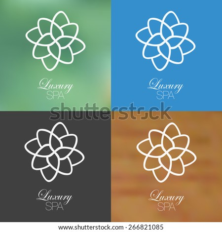 Linear floral spa design against solid and blurred background. - stock vector