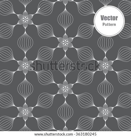 linear flower pattern, vector. - stock vector