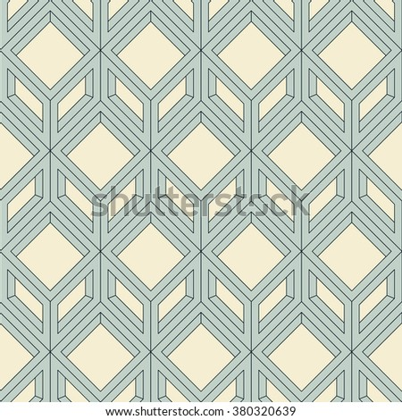 Linear frame of squares and rhombuses. Three-dimensional rectangular geometric shapes. Seamless vector pattern. Light colors. Repetitive retro design. Abstract geometric background. - stock vector