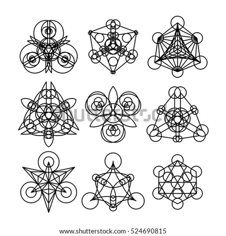 Linear geometric ornaments. Vector abstract symbols isolated on white