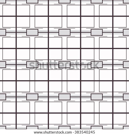Linear geometrical texture with squares and rectangles. Monochrome vector. - stock vector