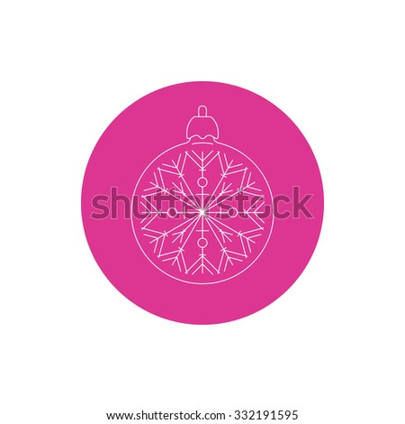 Linear Icon  Christmas Ball with Snowflake , Colorful Round Icon Ball with Snowflake ,  Icon   Christmas Tree Decoration, Vector Illustration - stock vector
