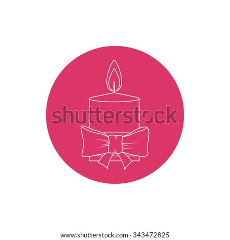 Linear Icon Christmas Festive Candle ,Colorful Round Icon Candle Decorated with Bow, Icon Christmas Decorations, Icon in Linear Style  ,  Vector Illustration - stock vector