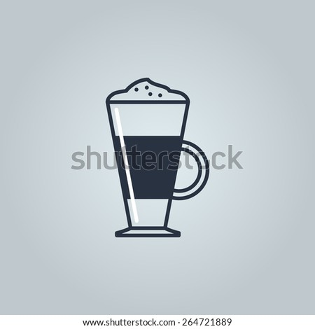 Linear icon of latte - stock vector