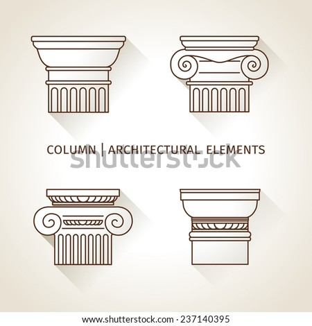 linear icons Columns. Flat with long shadows.  vector - stock vector