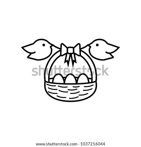 Linear Illustration Easter Basket Icon With Eggs Bow And Birds Three