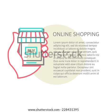 linear illustration from online store with place for your text. Buying online in the phone , vector illustration eps 10 - stock vector