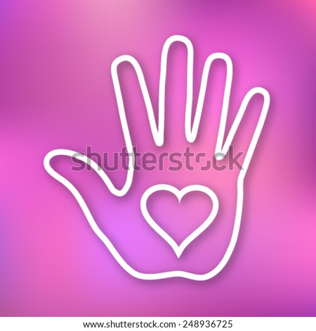 Linear illustration of Hand print with heart icon on bright blurred background, vector logo - stock vector
