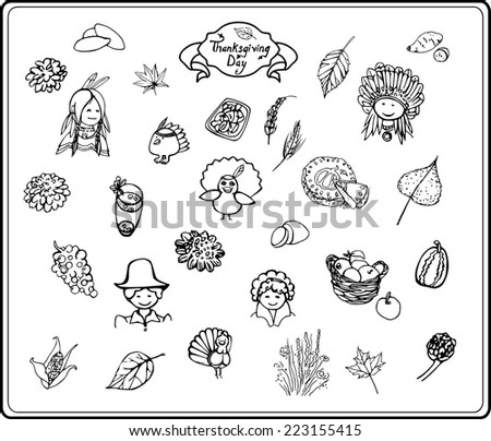 Linear illustrations on Thanksgiving Day/Thanksgiving Day in Sketch Style - stock vector