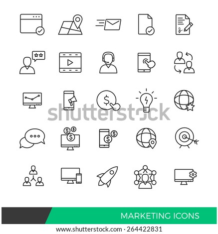 Linear Internet Marketing line icons - stock vector