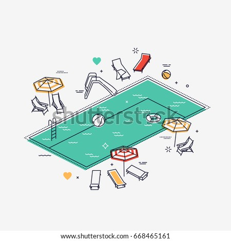 Linear isometric swimming pool with chaise lounges, parasol umbrellas, beach balls and more. Flat line vector concept design on summer leisure activity, swimming, sunbathing and relaxing