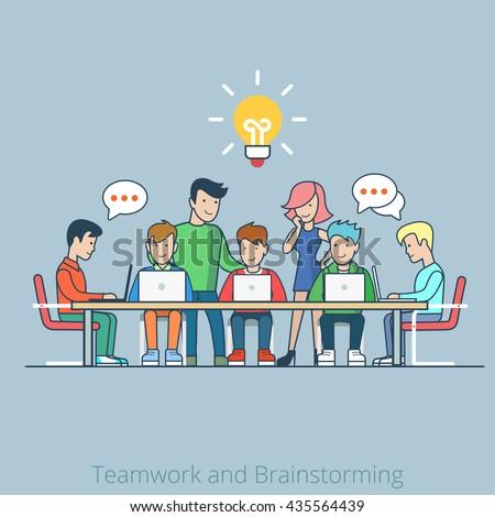 stock vector flat style idea brainstorming creative team concept infographics illustration