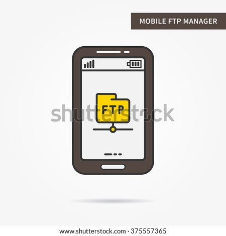 Linear mobile ftp service. Flat file transfer protocol manager app. Mobile web online ftp (cloud storage) technology. Creative mobile file transfer graphic design. Vector ftp software illustration.  - stock vector