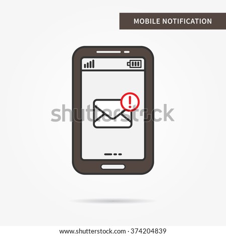 Linear mobile mail notification. Flat web mail notice. Mail message symbol. Creative concept phone mail graphic design banner. Mail inbox app icon. Vector mail notice sign. Mobile online messaging.  - stock vector