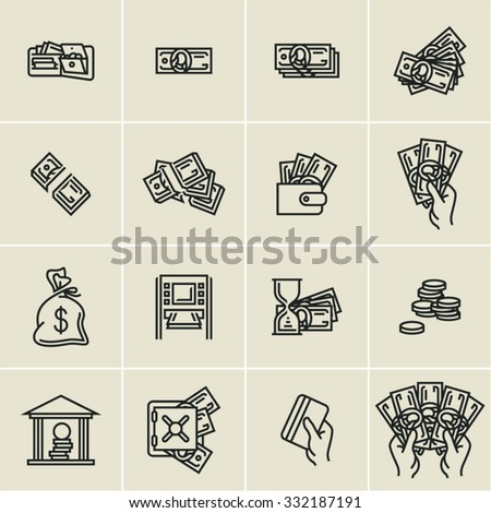 linear money icons, finance, business icons set, hand holding money, hand holding credit card - stock vector