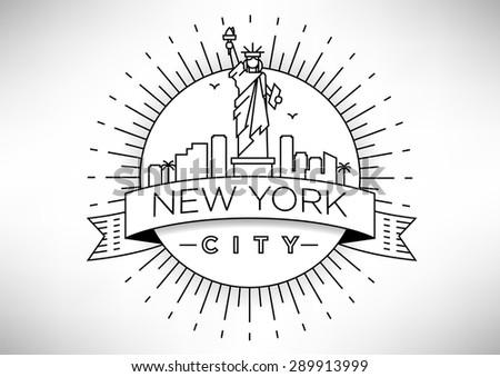 Linear New York City Skyline with Typographic Design - stock vector