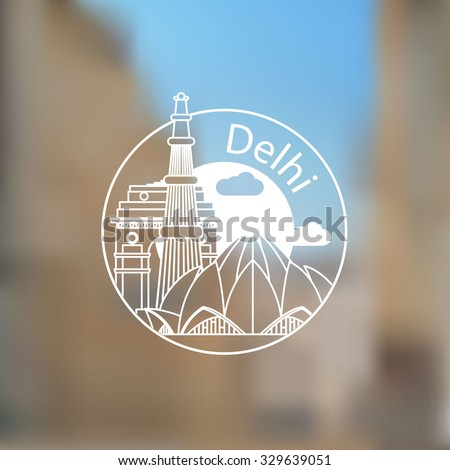 Linear round icon of  Delhi, India. Flat one line style. Trendy Line art Web logo on blurred background. - stock vector