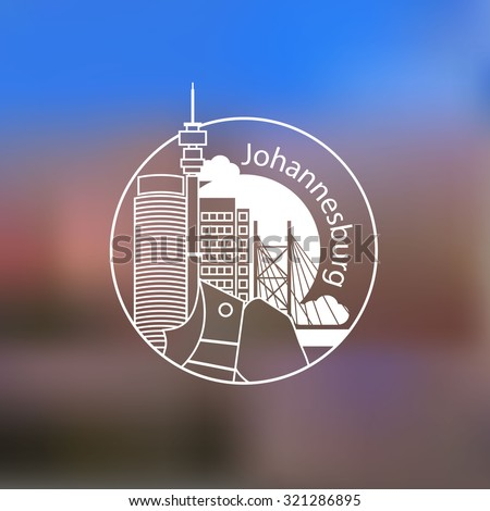 Linear round icon of Johannesburg, South Africa. Flat one line style. Line art Web logo on blurred background.