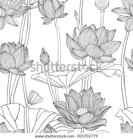 Linear seamless pattern - lotus flower.  - stock vector