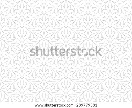 Linear seamless pattern. Stylish floral design with elegant lines and curls - stock vector