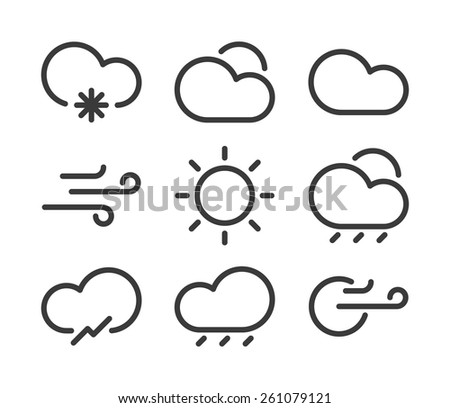 Linear seasons and weather icons. Minimal style. - stock vector