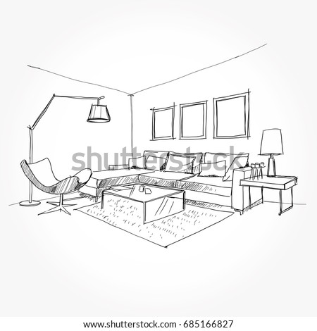 Living Room Plan. Sketch Line Sofa Set. Vector