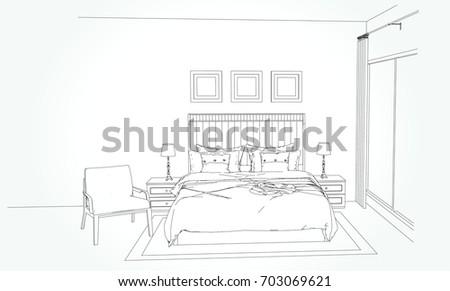 Interior Outline Sketch Furniture Blueprint Architectural Stock