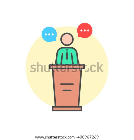 linear spokesman behind stand. concept of master class, vote, meeting, instructor, pedestal, narrator, mentor, announcement, quiz. flat style trend logo design vector illustration on white background - stock vector