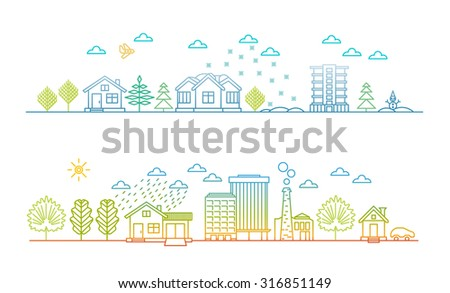 Linear style - city illustration, cityscape at Christmas and in summer day - stock vector