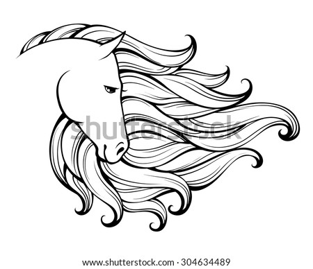 Linear stylized horse. Black and white graphic. Vector illustration can be used as design for tattoo, t-shirt, bag, poster, postcard - stock vector