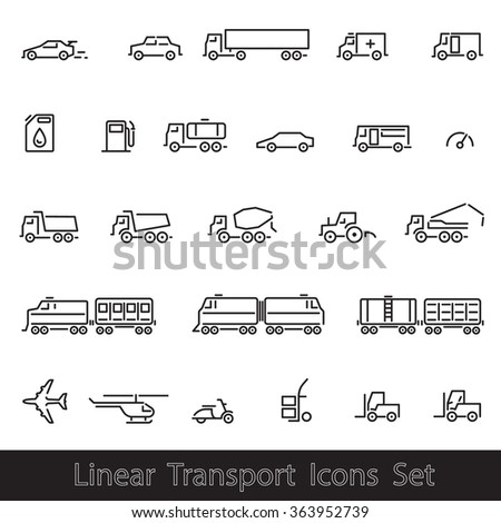Linear Transport Icons Set: Cars, Trains, Plane, vector illustrations, isolated on white background. - stock vector