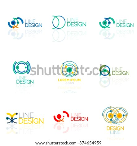 Linear vector abstract logo set, circles loops and swirls. Logotype brand templates - stock vector