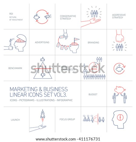 linear vector marketing and business icons set volme three | flat design illustration and infographic blue and red isolated on white background