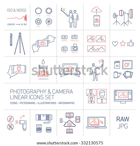 linear vector photography and camera icons set blue and red isolated on white background | illustrations of gear and equipment for professional photographers and amateurs - stock vector