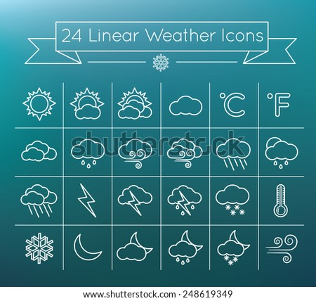 Linear  vector Weather icons set on blurry background - stock vector