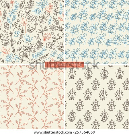 Lineart floral seamless patterns. Linear graphic. Vector illustration. - stock vector