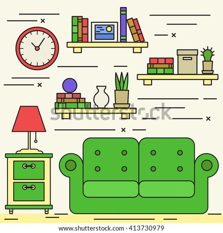 Lineart Living Room With Sofa Bookshelvesclock And House Plants