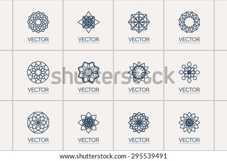 Lineart ornamental logo templates set. Vector arabic geometric symbols - stock vector