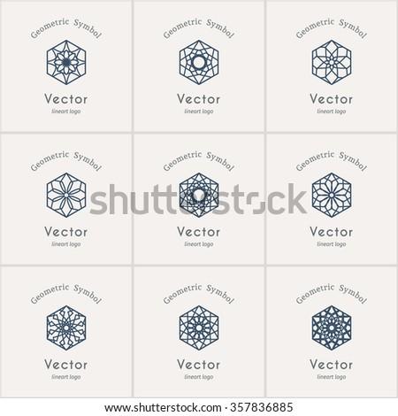 Lineart ornamental logo templates set. Vector hexagonal arabic geometric symbols - stock vector