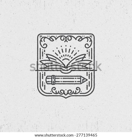Lineart symbol for knowledge, education, school, art. Graphical logo, label.  - stock vector