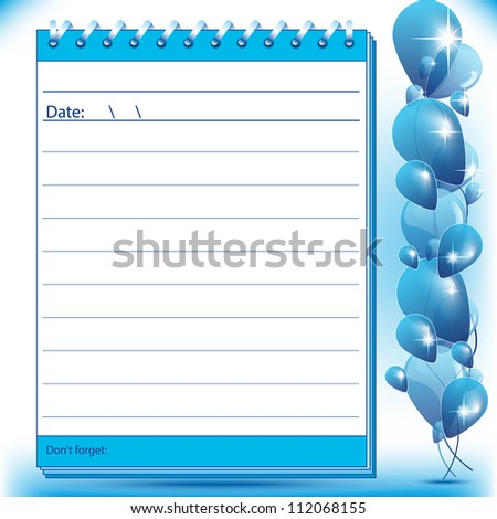 Lined Block notes page in blue shades with balloons - stock vector