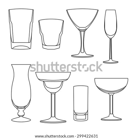 Lined glasses for cocktails - stock vector