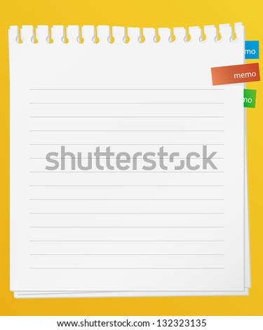 lined memo papers on board. vector. - stock vector