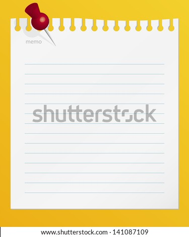 lined memo papers with red color pin on board. vector. - stock vector